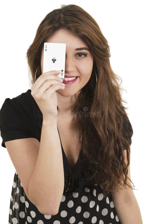 Piękne młodej dziewczyny mienia karty w ona ręka zdjęcie stock