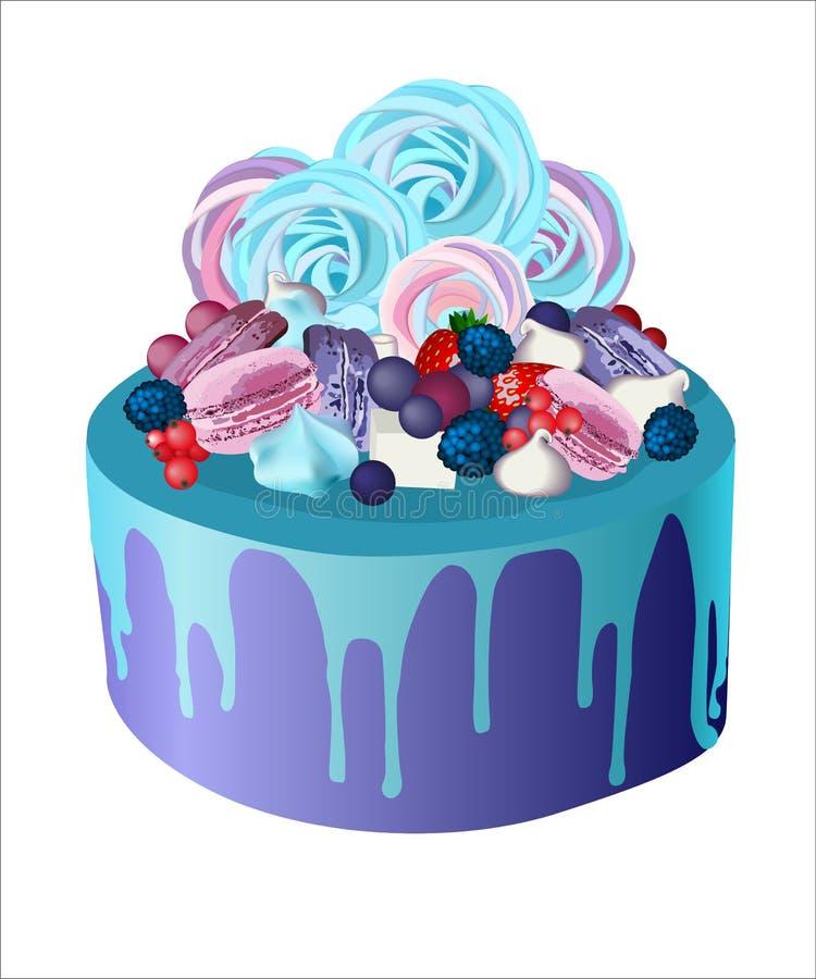 Piękne marshmallow torta ciastek jagody zamraża truskawki czernicy ciastka ilustracji