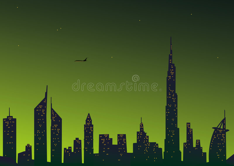 piękne miasto Dubaju ilustracja wektor