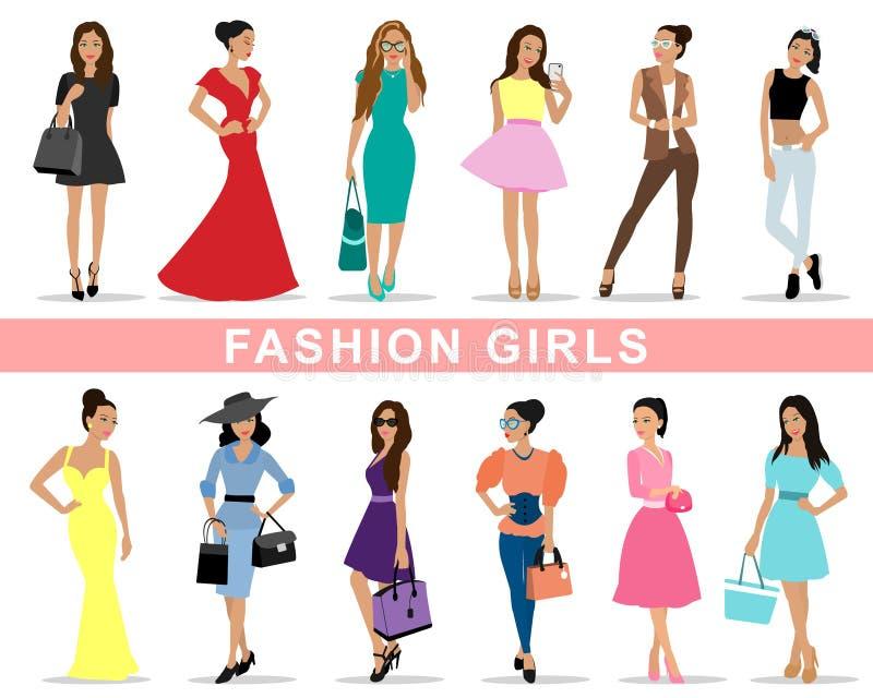 Piękne mod dziewczyny ustawiać royalty ilustracja