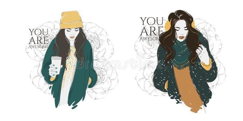 Piękne modniś młode kobiety w mody kurtce w kapeluszu z kawą Wektorowa ręka rysująca ilustracja ilustracji