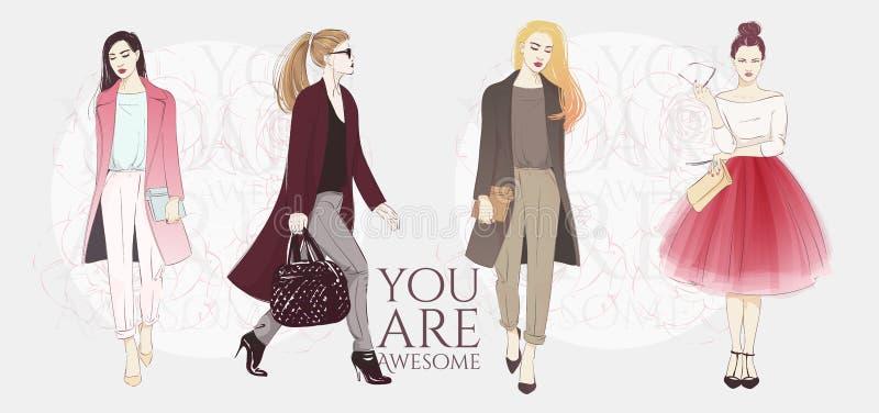 Piękne modniś młode kobiety w mody kurtkach, retro ubraniach i spodniach, Wektorowa ręka rysująca nakreślenie ilustracja royalty ilustracja