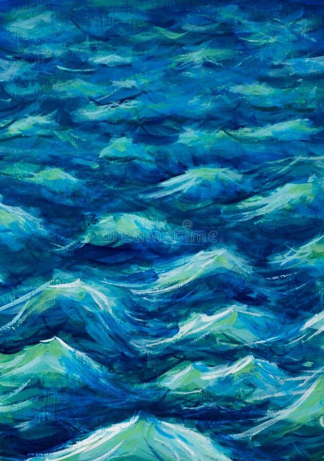 Piękne morze fala Abstrakcjonistyczna turkus fala Morski tło ilustracja wektor