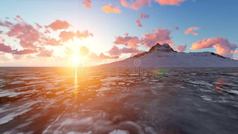Piękne nakrywać góry na zmierzchu 3D renderingu ilustracji