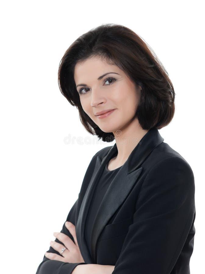 Piękne ono uśmiecha się caucasian biznesowej kobiety portreta ręki krzyżować zdjęcia royalty free