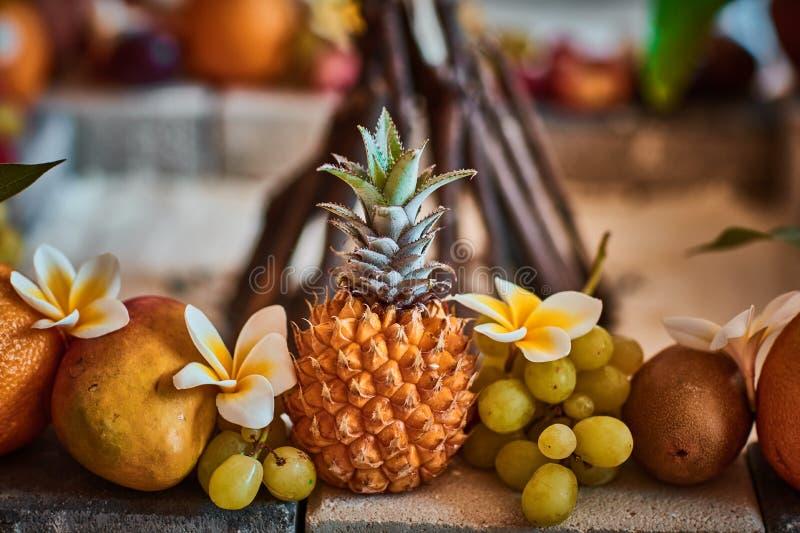Piękne owoc układać z zamazanym tłem obraz royalty free
