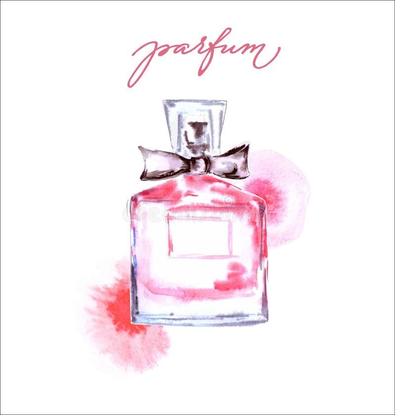 piękne perfumy butelek Ręka rysująca akwareli ilustracja Piękna i kosmetyka tła wektoru szablon royalty ilustracja