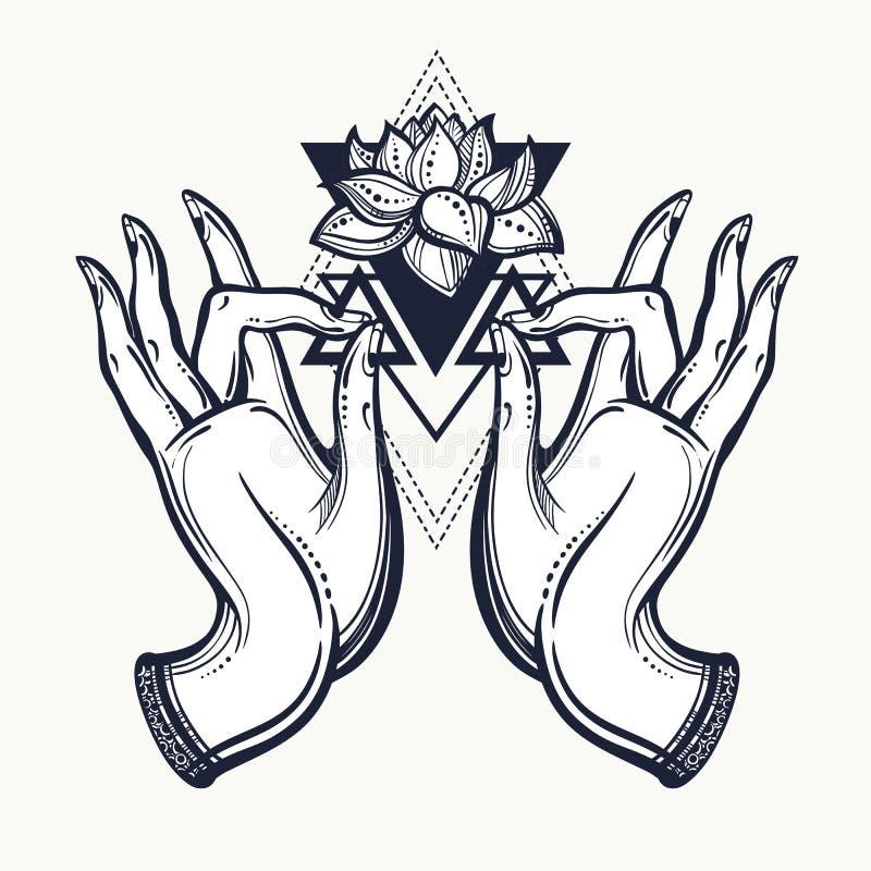 Piękne pociągany ręcznie Buddha ręki z Lotosowym kwiatem i świętą geometrią Odosobniona wektorowa ilustracja Tatuaż, joga, duchow ilustracja wektor