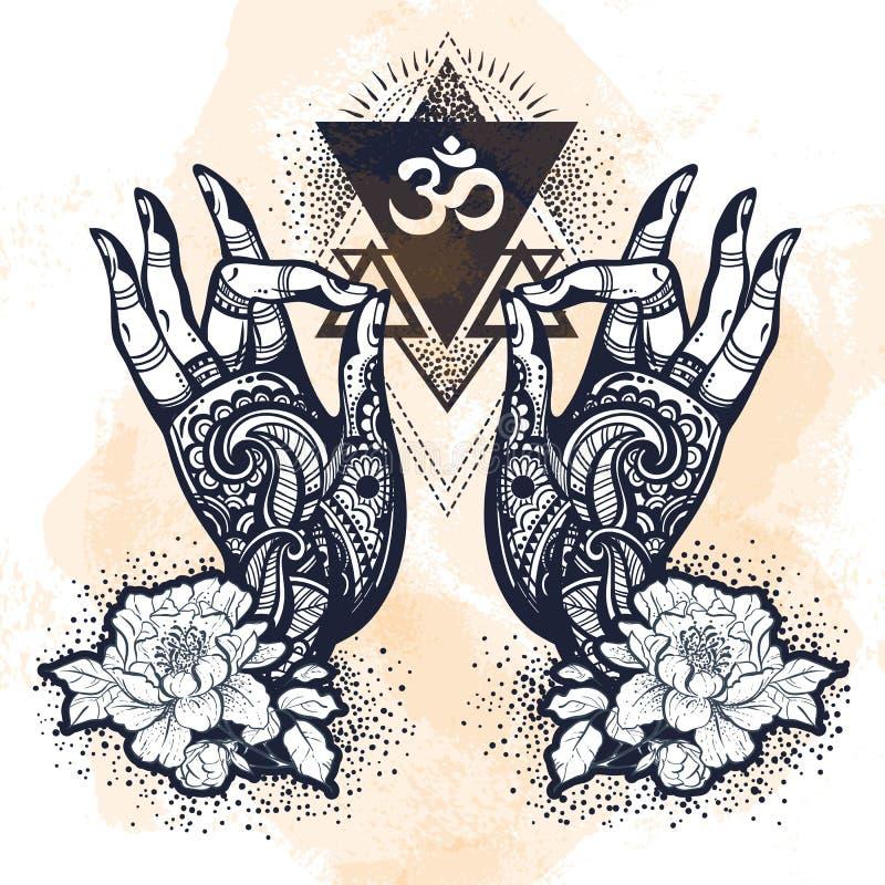 Piękne pociągany ręcznie tatuować Buddha ręki z peonia kwiatem i świętą geometrią Odosobniona wektorowa ilustracja ilustracja wektor