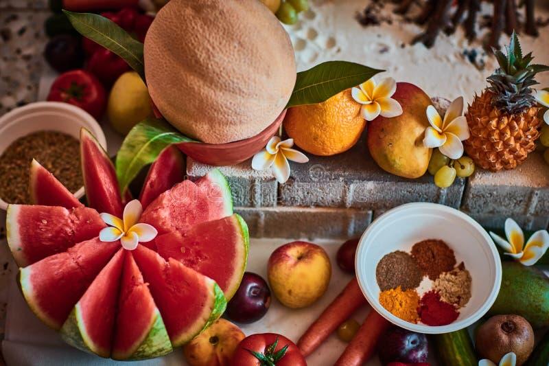 Piękne pokrojone owoc układać dla vedic ślubu fotografia stock
