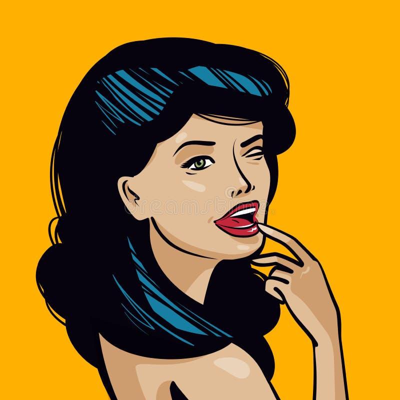 piękne portret kobiety young Szpilki pojęcie Rocznika wystrzału sztuki komiczki, kreskówka wektoru ilustracja royalty ilustracja