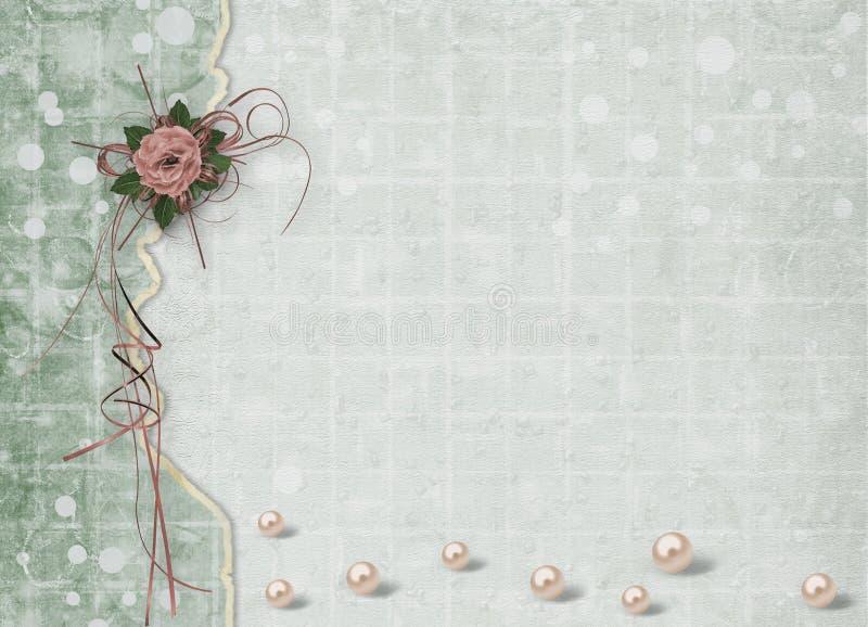 Piękne róże z łękami, faborkami i perłami na abstrakcie, tapetują tło dla świątecznego powitania royalty ilustracja