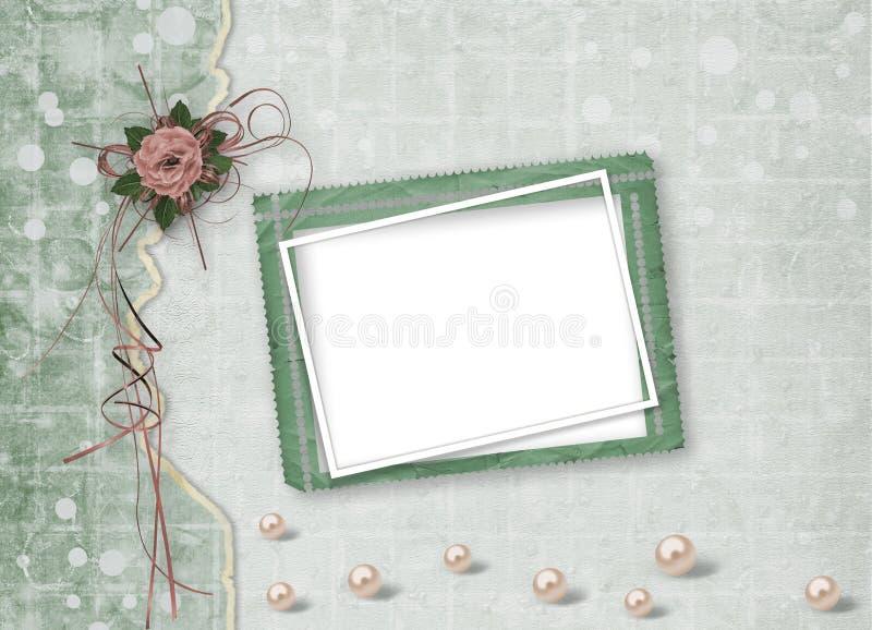 Piękne róże z łękami, faborkami i perłami na abstrakcie, tapetują tło dla świątecznego powitania ilustracji