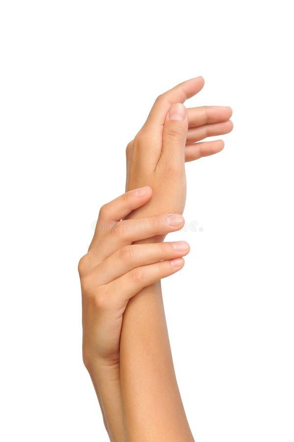 Piękne ręki młoda kobieta, ciało opieka obrazy royalty free