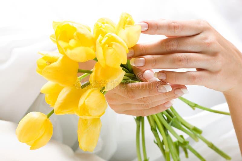 Piękne ręki z wiązką tulipany obraz royalty free