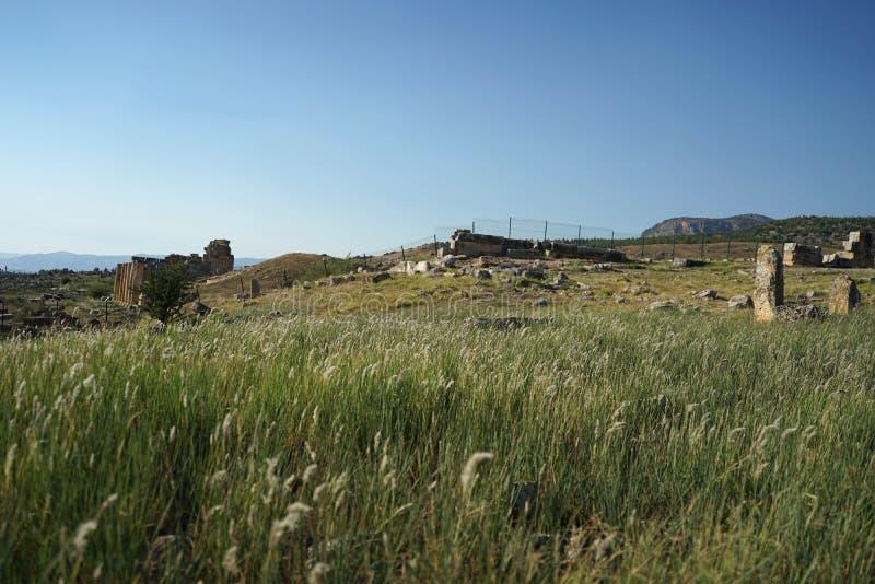 Piękne rzymskie starożytne ruiny Hierapolis Pamukkale z łąką fotografia royalty free