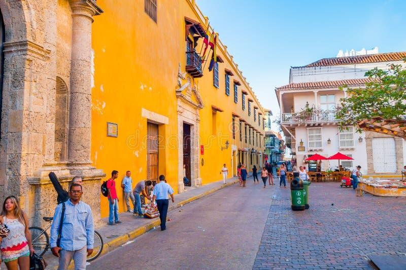 Piękne ulicy w Cartagena, Kolumbia obraz royalty free