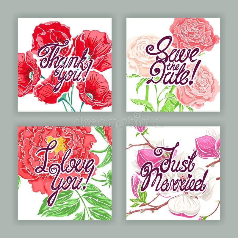 Piękne wakacje karty z kwiatami ilustracji