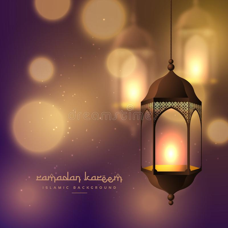 piękne wiszące lampy na zamazanym bokeh tle dla Ramadan ilustracji
