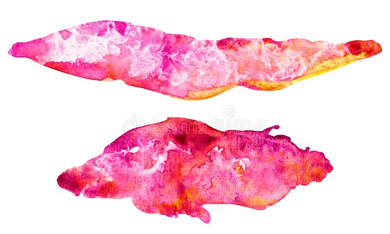 Piękne wypełnienie w kolorze różowym, żółtym i pomarańczowym. Ustaw plamę w kolorze wodnym z gradientem izolowanym na bia royalty ilustracja
