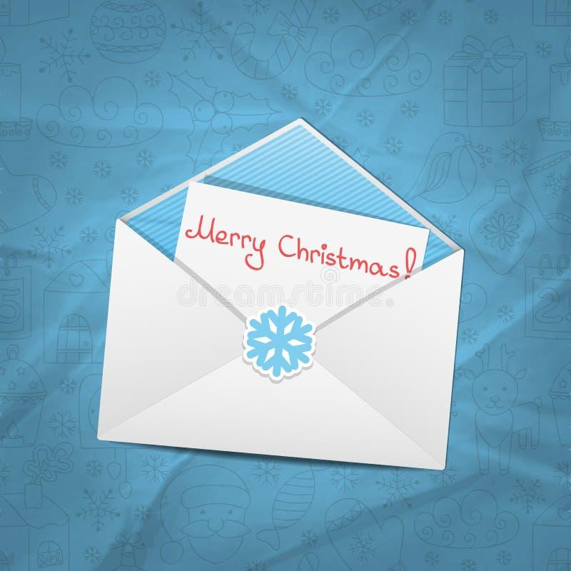 pięknego łęku uroczysty bożych narodzeń koperty listu nowy rok ilustracji
