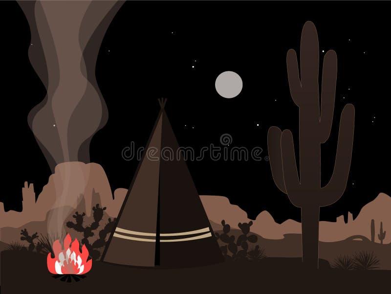Pięknego amd tajemnicza ilustracja z indyjskim tepee, ogieniem i Joshua drzewa sylwetką, ilustracja wektor