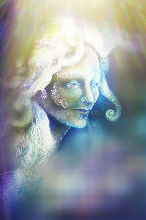 Pięknego anioła czarodziejski duch w promieniach światło, ilustracja ilustracji
