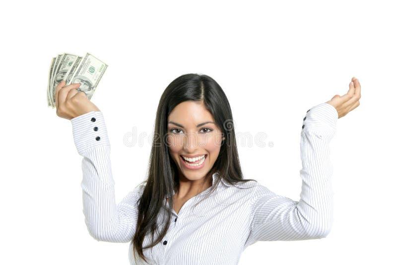 pięknego bizneswomanu dolarowe mienia notatki obrazy stock