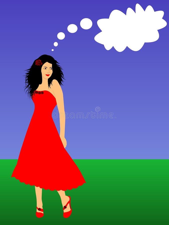 pięknego callout myśląca kobieta młoda ilustracji