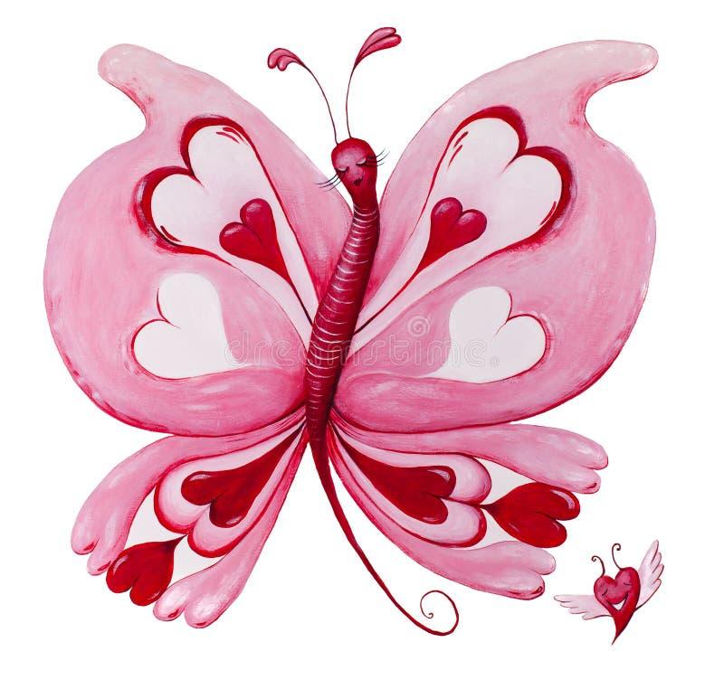 Pięknego czerwonego loveheart motyli obraz na bielu zdjęcia royalty free