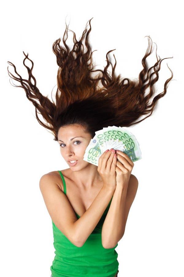 pięknego dishevelle euro włosiana chwyta ld moey kobieta obraz stock