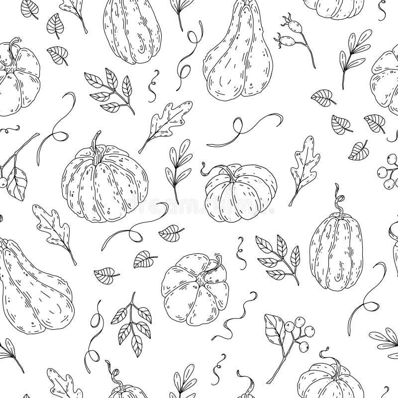 Pięknego dyniowego Halloween dziękczynienia bezszwowy wzór royalty ilustracja