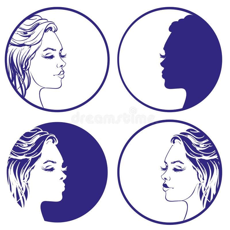 Pięknego dziewczyny nakreślenia loga projekta inkasowy wektorowy szablon kosmetyk, royalty ilustracja