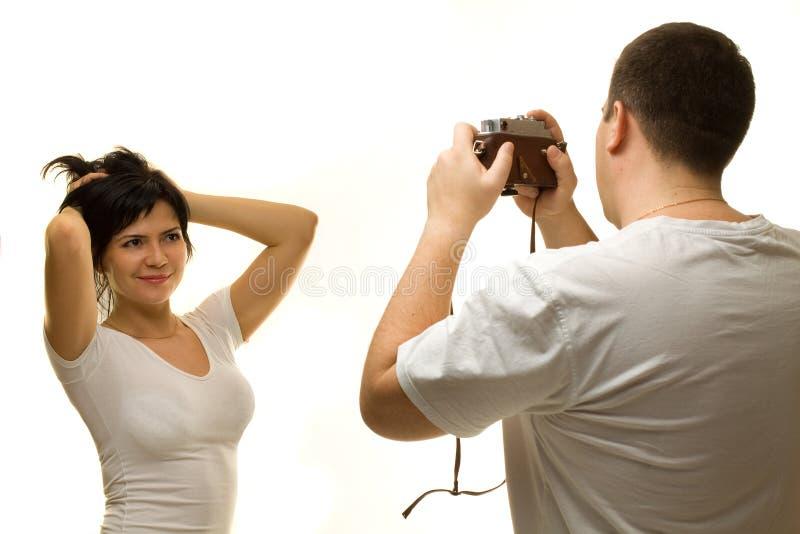 pięknego fotografa target316_0_ kobieta zdjęcia royalty free