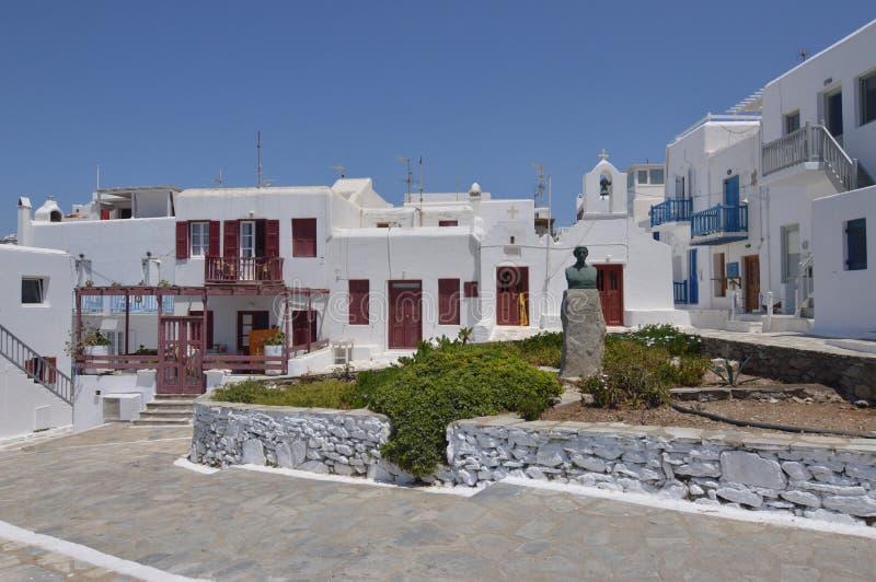 Pięknego grka Typowi domy W mieście Chora Na wyspie Mykonos Historii Sztuki architektura zdjęcia royalty free
