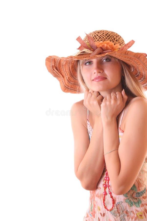 pięknego kapeluszu odosobniona rocznika kobieta fotografia stock