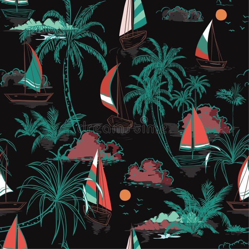Pięknego Kolorowego lata Piękna bezszwowa deseniowa wyspa z royalty ilustracja