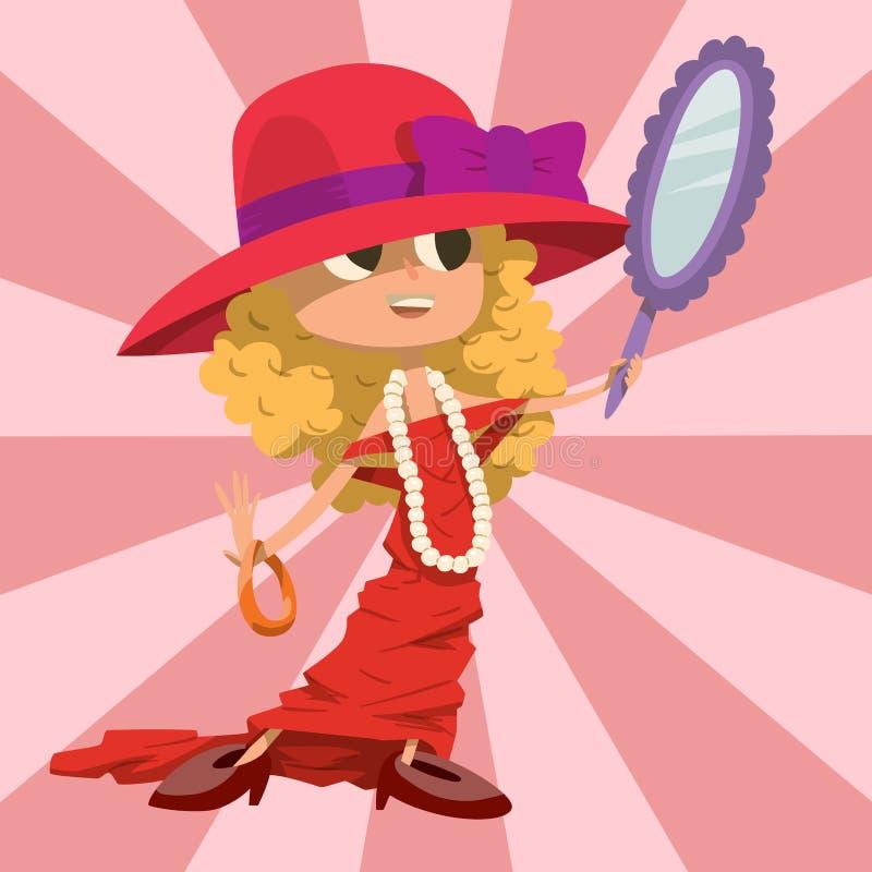 Pięknego liitle dziewczyny szczęścia dzieciństwa młoda śliczna osoba ubierał jak r kobieta wektoru ilustracja ilustracja wektor