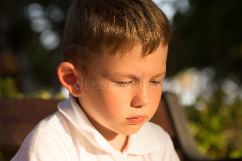 Pięknego małego brunet włosiana chłopiec, poważną twarz, szczęśliwi oczy obraz royalty free