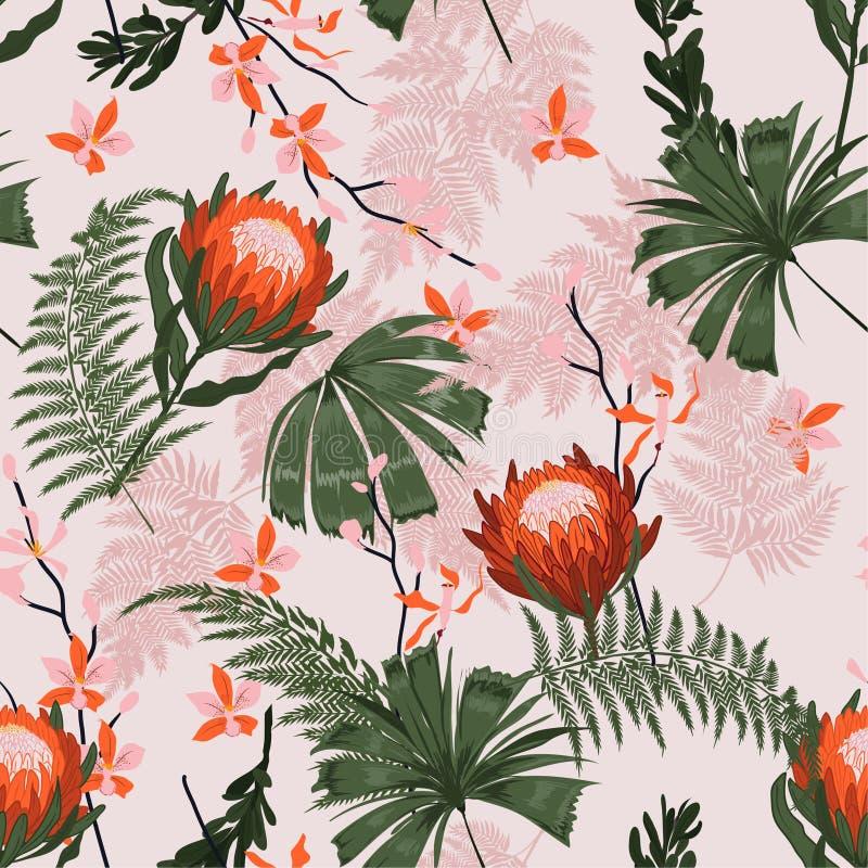 Pięknego Modnego protea Kwiecisty wzór w dużo typ kwitnie Tropikalny Botaniczny tekstura bezszwowy wektor Drukować z wewnątrz royalty ilustracja
