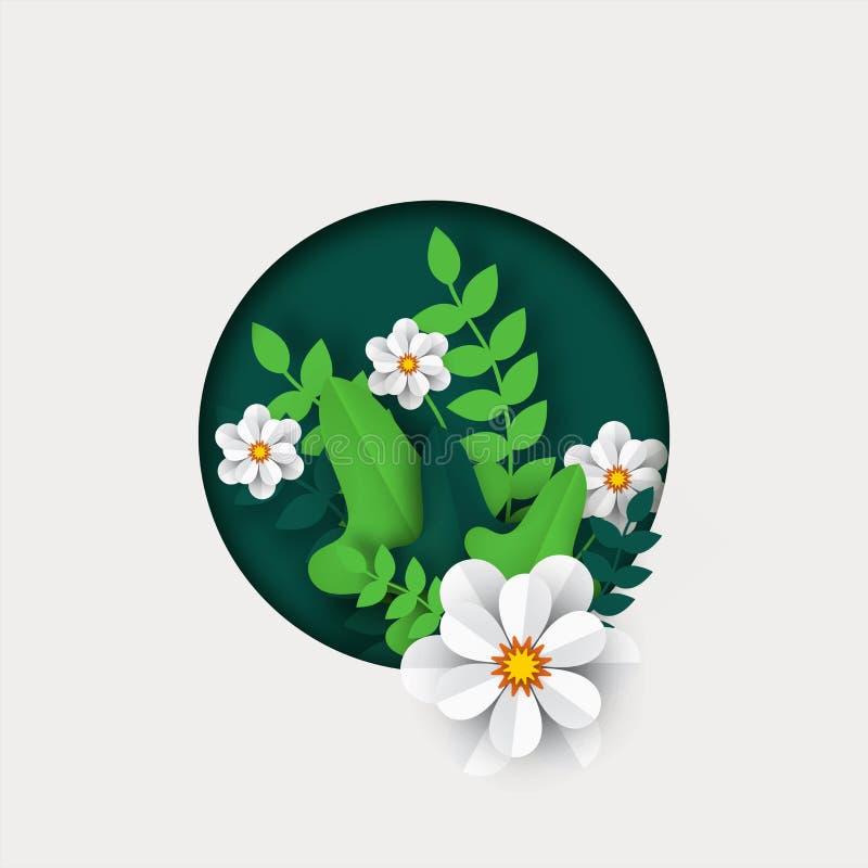 Pięknego papieru cięcia stylu biali kwiaty z zielonym urlopem royalty ilustracja