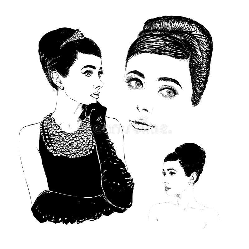 Pięknego portreta retro kobieta, ilustracja ilustracja wektor