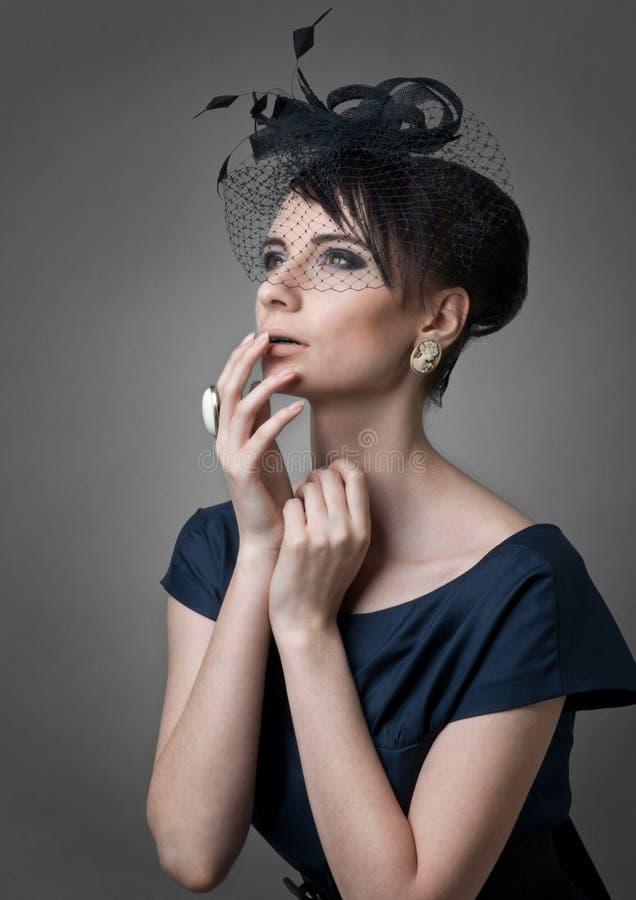pięknego portreta retro projektująca kobieta zdjęcie royalty free