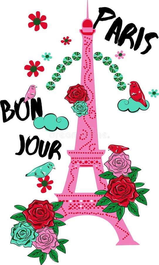 Pięknego projekta bonjour Paris powiązani graficzni elementy Ilustracja w wektorowym formacie royalty ilustracja