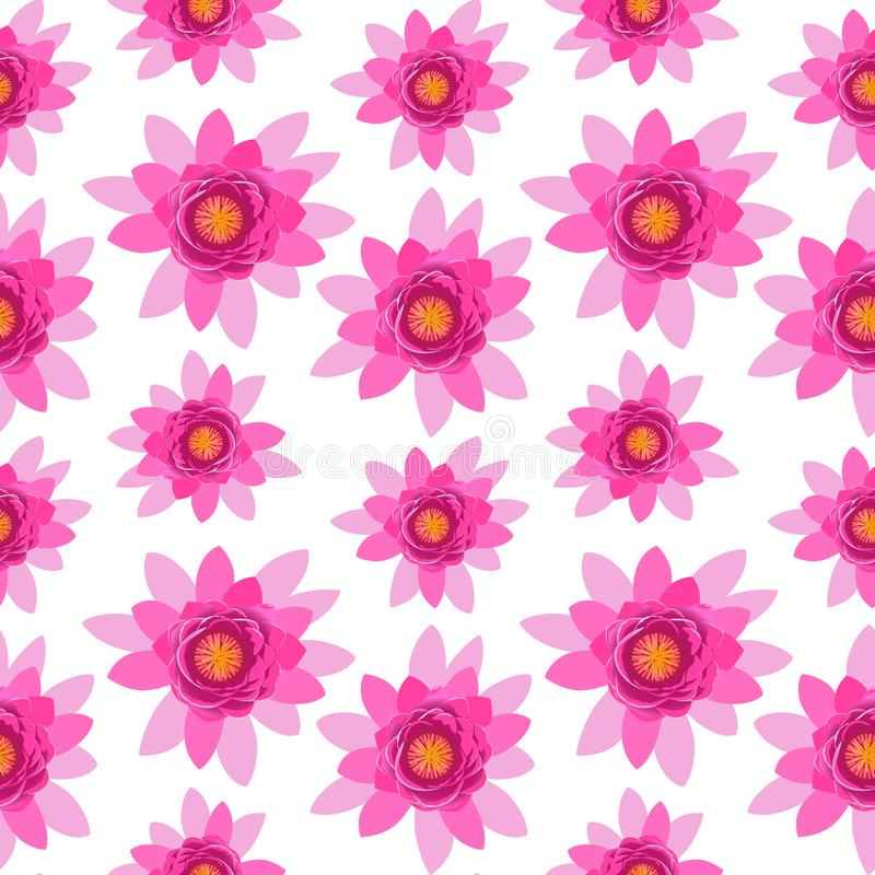 Pięknego różowego lotosowego kwiatu okwitnięcia bezszwowy wzór odizolowywający na białym tle ilustracji