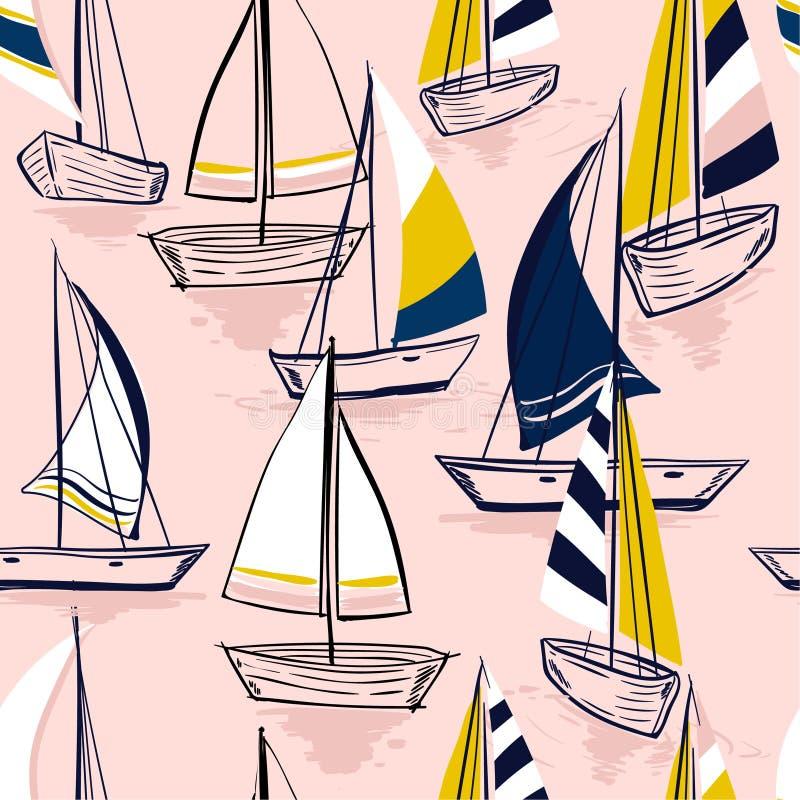 Pięknego ręka rysunku nakreślenia lata morza Bezszwowy wzór z ilustracji