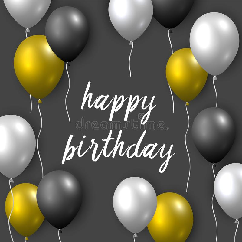 Pięknego realistycznego wszystkiego najlepszego z okazji urodzin wektorowa kartka z pozdrowieniami z złotym, srebnym i czarnym la ilustracja wektor
