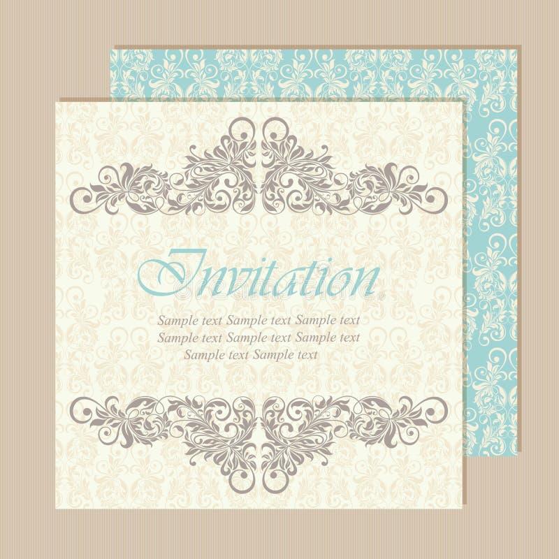 Pięknego rocznika ślubni zaproszenia ilustracja wektor