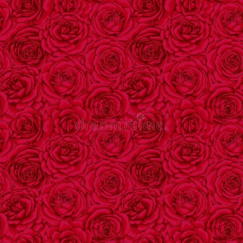 Pięknego rocznika bezszwowy wzór z czerwonymi różami pączkuje projektuje kartka z pozdrowieniami i zaproszenie ślub, urodziny, wa royalty ilustracja