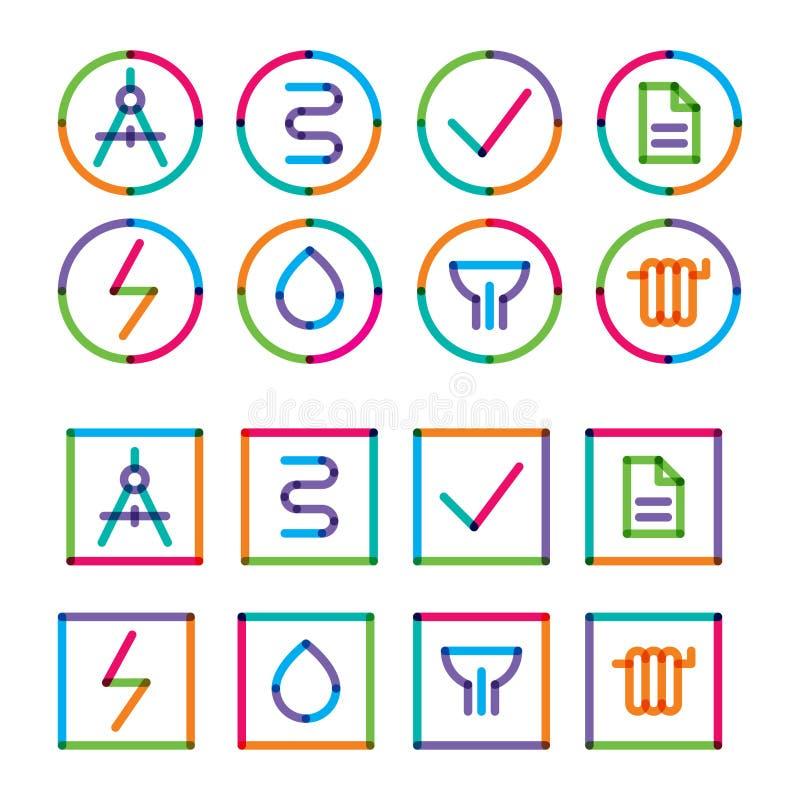 Pięknego round i kwadratowego budynku komunikacyjne ikony, rysować z markierami ilustracja wektor